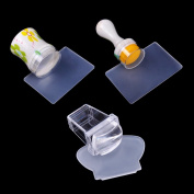 Biutee New Design Pure Clear Jelly Silicone Nail Art Stamper Scraper with Cap Transparent 3 sizes Nail Stamp Stamping Tool