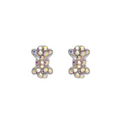 BMC By Bundle Monster 2pc Rotational Silver 3D Nail Art Bow Studs w/ Rainbow Effect Rhinestones