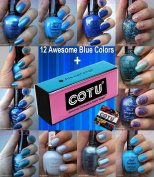 COTU (R) 4 Way Nail Buffer Block with 12 x Kleancolor Awesome Blue Colours Nail Polish Combo Set