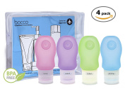 Bocco Leak Proof Squeezable Travel Bottles, Flight Cabin Approved Travel Accessories for Hand Luggage - Perfect for Liquid Toiletries - 4 Pack (All Medium 2 oz / 60ml Bottles)