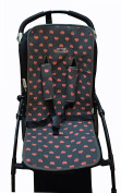 UNIVERSAL PADDED COVER LINER FOR BABY CARRIERS CHAIRS FLUOR HEART by Janabebe® + HARNESS PROTECTION PADS