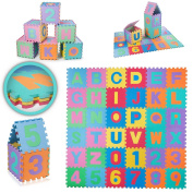 BABY VIVO Large 86Pcs Puzzle Soft EVA Foam Play Mat Floor Baby Children Kids Alphabet Numbers Jigsaw