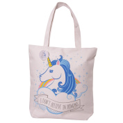 "Unicorn ""I Don't Belive In Humans"" Design Cotton Bag With Zip And Inner Lining"