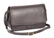 Ladies Real Leather Flap Over Organiser Cross Body Bag Satchel Messenger Style HLG817 Brown