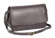 Ladies Real Leather Flap Over Organiser Cross Body Bag Satchel Messenger Style HLG817 Brown