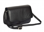 Ladies Real Leather Flap Over Organiser Cross Body Bag Satchel Messenger Style HLG817 Black