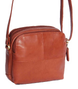 Womens Casual Multi Zip Top Real Leather Sling Bag Cross Body Pouch HLG833 Brown