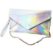 Meliya Women's Holographic Pu Leather Envelope Clutch Handbag Purse Chain Messenger Shooulder Bag, Silver