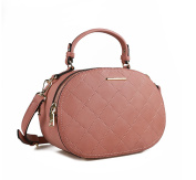 JOLLYCHIC Women's PU Leather Quilted Oval Shape Shoulder Handbag