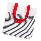 Wicemoon Fashion Canvas Handbag Striped Portable Student Pack Tote Shoulder Shopping Bag