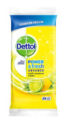 Dettol Power and Fresh 80 Wipes - Lemon and Lime, Large, Pack of 4