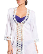 Women's V Neck Hollow Out Floral Lace Beach Bikini Cover-up Dress