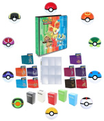Pokemon 3-Ring Chespin Fennekin Froakie Binder with 25 9-Pocket Pages + 65 Sleeves + Deck Box + Pokeball