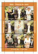Diana - Princess of Hearts, 9 Stamp Sheet with Orange Border, Guinea 1997