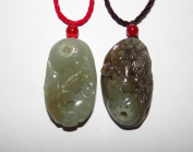 4.3cm China Certified Nature Nephrite Jade Hetian Pebble Wealth Golden Fish and Basket Pair Hand Carved Pendants