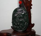 4.8cm China Certified Nature Nephrite Hetian Green Jade Wealth Dragon and Phoenix Pendants