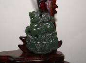4.8cm China Certified Nature Nephrite Hetian Green Jade Fortune Pixiu Pendants