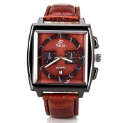 ELEOPTION Popular Male Quartz Watch with Date Analogue Indicate Leather Watchband Dress Watch for Men Adult