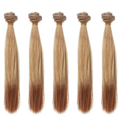 5pcs/lot,25x100cm Straight Brown Ombre Synthetic Doll Hair Peices for Crafting BJD Blythe Pullip Doll's Wig