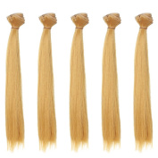 5pcs/lot,25x100cm Straight Natural Ginger Heat Resistant Hair Pieces for Handcraft Doll Wigs