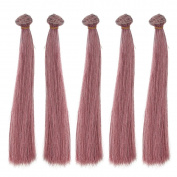 5pcs/lot,25x100cm Straight Red Ocher Heat Resistant Hair Pieces for Handcraft Doll Wigs