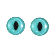 16mm Glass Turquoise Cat Eyes Animal Pair Realistic Taxidermy Sculptures or Jewellery Making Crafts Set of 2