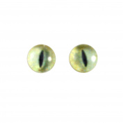 6mm Small Pale Yellow Glass Cat Eyes Animal Pair Realistic Taxidermy Sculptures or Jewellery Making Crafts Set of 2