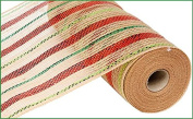 25cm x 9.1m Poly Jute Metallic Mesh Ribbon (Natural Red Lime Green Emerald Christmas) : RY800945