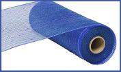 25cm x 9.1m Deco Poly Mesh Ribbon - Metallic Peacock Blue with Royal Blue Foil