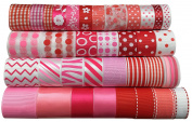 Duoqu Pink Ribbon Mixed Style/Size 35yd (35x 1yd) 1cm - 3.8cm For Spring, Summer, Holiday