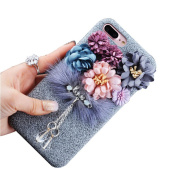 iPhone 7 Case, GIZEE Cute Luxury Bling Floral Soft Suede Silicone Protective Case Cover for girls (12cm ) - Grey