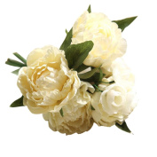 Lucoo Artificial Fake Flowers Peony Bouquet Floral Wedding Bouquet Party Home Decor