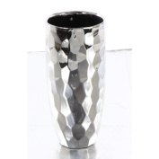 Chic Ceramic Vase With Gloss Finish, Silver