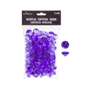 Mega Crafts 0.2kg Acrylic Small Diamonds Purple | Plastic Glass Gems For Arts And Crafts, Vase Fillers And Table Scatters, Decoration Stones, Shiny Pebbles