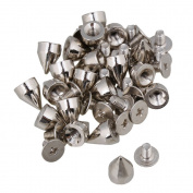 RDEXP Sliver 7mm Base Dia Punk Cone Spikes Screwback Nailhead Rivet Studs DIY Bags Shoes Leather Craft Set of 20