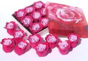 mother day, Rose Bath Bomb, Nine Colourful Charing Rose Flowers in a rose gift box. dark pink+light pink, 10
