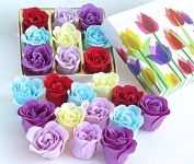 Easter Tulip flower gift box with Nine Colourful Charming Rose Flowers Bath Bombs.