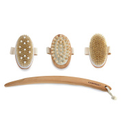 Bath Brush, Bamboo Bath Brush for Back Scrubber ESARORA Soft Natural Bristles Back Brush with Long Handle for Exfoliating Skin & Wood Beads for Massage Beech Wood Handle and Natural Boar Bristle Head