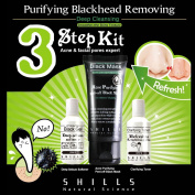 SHILLS Black Charcoal Facial Peel Off 3 Step Kit