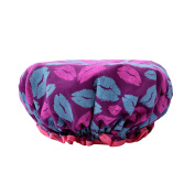 Efivs Arts EVA Pink+Blue Lip Women Waterproof Shower Bath Cap