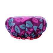 Efivs Arts EVA Pink+Blue Lip Women Waterproof Shower Bath Cap