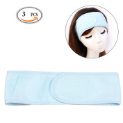 OR Pure 3pcs Elastic Terry Cloth Makeup & Spa Headband - Hook and loop Closure Stretch Towel Stretch Yoga Sport Headband Shower Wrap Headband, Fits All Head Sizes