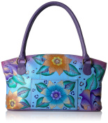 ANUSCHKA Womens Anna Handpainted Leather Wide Tote, Peacock Butterfly Shoulder Handbag, Natural, None US