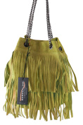 BORDERLINE - 100% Made in Italy - Woman's Bucket Bag in real suede leather - VIRGINIA