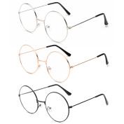 3Pairs Unisex Retro Round Eyeglasses 3 Different Colour Circle Metal Frame Clear Lens Glasses for Women Men