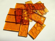 FortySevenGems 50 Pieces Lt Amber Stained Glass Mosaic Border Tiles 1.3cm x 2.5cm