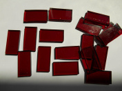 FortySevenGems 50 Pieces Red Stained Glass Mosaic Border Tiles 1.3cm x 2.5cm