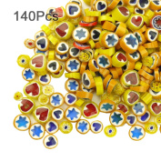 LIEOMO 100g appr. 140Pcs Yellow Colours Venice Hand Fusible Glass Beads Mosaic Charms