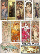 Vintage Printed Alphonse Mucha Reproduction Cards Collage Sheet #110 Scrapbooking, Decoupage, Labels
