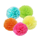 X-Sunshine Tissue Paper Flower 10pcs 20cm 25cm With 5 colours Decorative Hanging Flower Balls DIY Paper Pom Poms For Wedding, Baby Shower, Birthday, Party Decorations